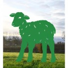 Iron Curly Lamb Silhouette in Green