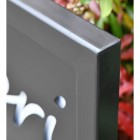 Close-up of the Black Finish on the Iron Sign