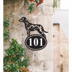 Bespoke Dalmatian Iron House Number Sign on a Garden Wall