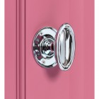 Bright Chrome Oval door knob on Pink door