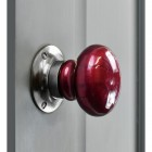 """Contemporary Crimson"" Hand Finished Ceramic Door Knob with Bright Chrome Back Plate"