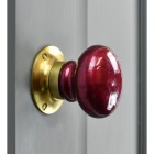 """""""Contemporary Crimson"""" Hand Finished Ceramic Door Knob with Polished Brass Back Plate"""