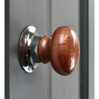 """Rustic"" Cermaic Door Knob With Bright Chrome Backplate"