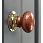 """Rustic"" Ceramic Door Knob With Polished Brass Back plate"