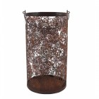Large Rustic Candle holder with flower detail