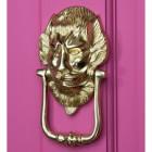 """""""Downing street lion"""" Door Knocker on a Pink Door"""