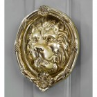 Polished Brass lion head door knocker on Pastel grey door