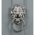 Large Lion head ascot lion door knocker with ring on grey door