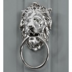 Bright Chrome Ascot Lion door knocker on grey door