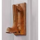 Wellington boot shaped door knocker on grey door