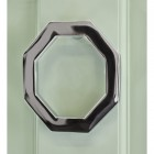 Bright Chrome Modern Octagonal door knocker on Green door