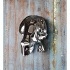 Bright Chrome Frog Door Knocker on Antique door