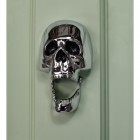 Bright Chrome Skull Door Knocker on pale green door