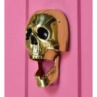 Polished brass Halloween door knocker novelty skull