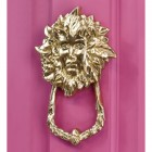 Polished brass Goddess Door Knocker on pink door