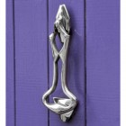 Bright Chrome Art Deco Door Knocker on Purple door