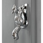 Bright Chrome Squirrel door knocker on Grey door