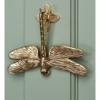 Dragon fly door knocker mounted on Green door