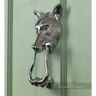 Side View of the Fox Head Door Knocker on a Green Door