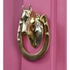 Polished Brass Horse & Shoe door knocker on pink door