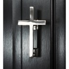Bright Chrome Cross Door Knocker on Black door