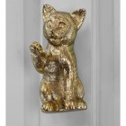 Polished brass Cat door knocker on grey door