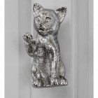 Bright Chrome Cat door knocker on grey door