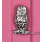 Bright Chrome Owl Door Knocker in Situ on a Pink Door