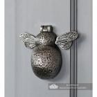 Antique Pewter Bumblebee Door Knocker on a Light Grey Door