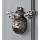 Antique Pewter Bumblebee Door Knocker in Situ on a Door