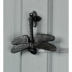 Dragonfly Door Knocker - Cast Iron On Grey Door