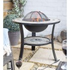 """Durango"" Firepit with Mesh Removable Lid Burning in the Garden"