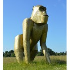 Extra Large Gold Gorilla Sculpture