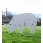 Silver Female Pig Silhouette