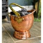 Traditional Copper Coal Bucket Holding Coal