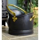 Black & Polished Brass Coal Bucket in Situ