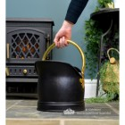 Polished Brass & Black Iron Traditional Coal Bucket  to Scale
