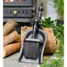 """Duchess"" Black Iron Shovel and Brush Set by the Fire"