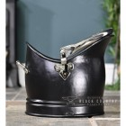 """Side View of the """"Hinswick"""" Victorian Black Iron and Nickle Coal Bucket"""