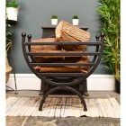 """""""The Mondrian"""" Curved Fire Basket in Situ Next to the Fireplace"""