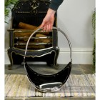 """Evington"" Stainless Steel Curved Log Basket To Scale"