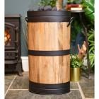 Wooden Log Basket With Black Rims