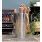"""Stainless Steel """"Smooth and Sophisticated"""" Log Holder Holding Logs"""
