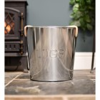 Contemporary stainless steel fireside fuel storage