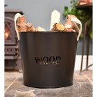 Contemporary fireplace log bucket