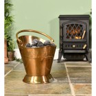 """""""Colnbrook Manor"""" Antique Brass Coal Bucket by the Fire Place"""