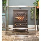 Curved fire guard in front of log burner