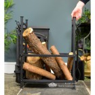 Log Basket with Fireside Tools to Scale