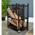 Log Basket with Fireside Tools Finished in Black