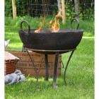 Traditional Iron Kadai Fire Bowl in Situ in the Garden